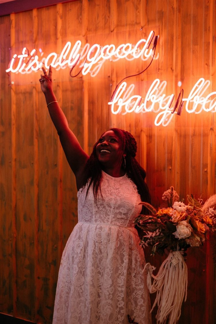 The wedding decor was done with neon lights, too, for a more modern and fresh touch