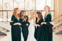 09 gorgeous emerald velvet maxi bridesmaid dresses with V-necklines and short sleeves look bold and chic