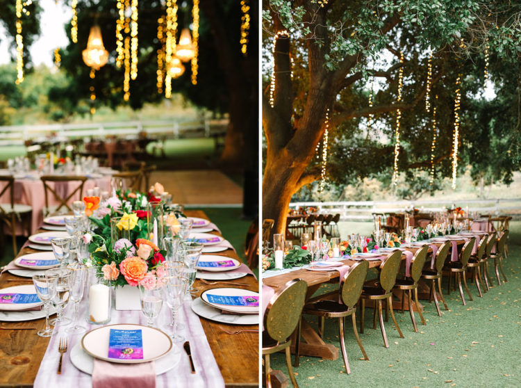 The reception was an outdoor one, with lamps and lights hanging down, a pastel runner, bright menus and blooms