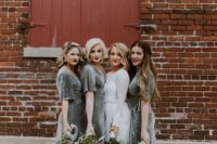 10 grey wrap maxi bridesmaid dresses with short sleeves are chic and very romantic, grey easily fits mot of color schemes