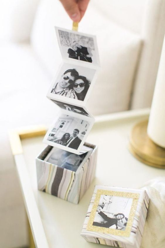 a marble Instagram photo box is a stylish and modern idea that will be loved by most of guys
