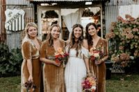 12 mustard-colored velvet maxi dresses with short sleeves, deep necklines will fit both a fall and winter wedding