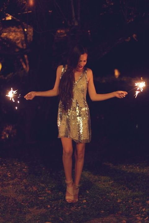 a mini sequin dress on thick straps and nude heels will make up a cool NYE look for a warm location