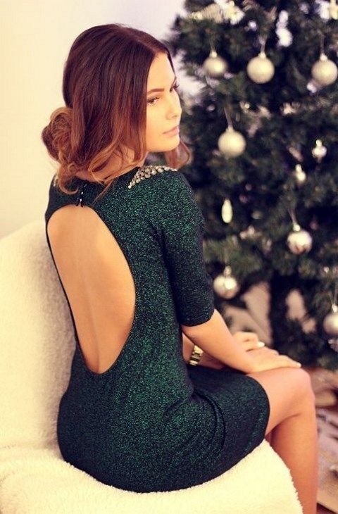 a forest green sequin dress with a cutout back and embellished shoulders is a cool statement for any holiday wedding