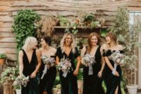 14 teal and forest greeen mismatching bridesmaid dresses plus nude shoes make them look super hot and refined