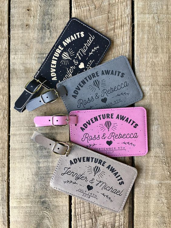colorful personalized leather luggage tags are super cool, especially if the couple is going on a honeymoon