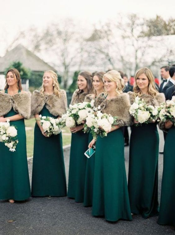 emerald bridesmaid maxi dresses and tan faux fur coverups for a chic and bold look