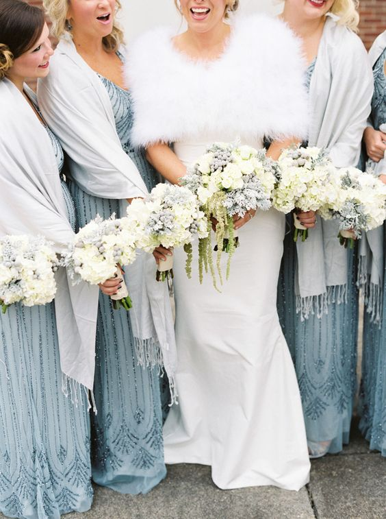 embellished light blue maxi bridesmaid dresses with white pashminas are a chic and tender combo