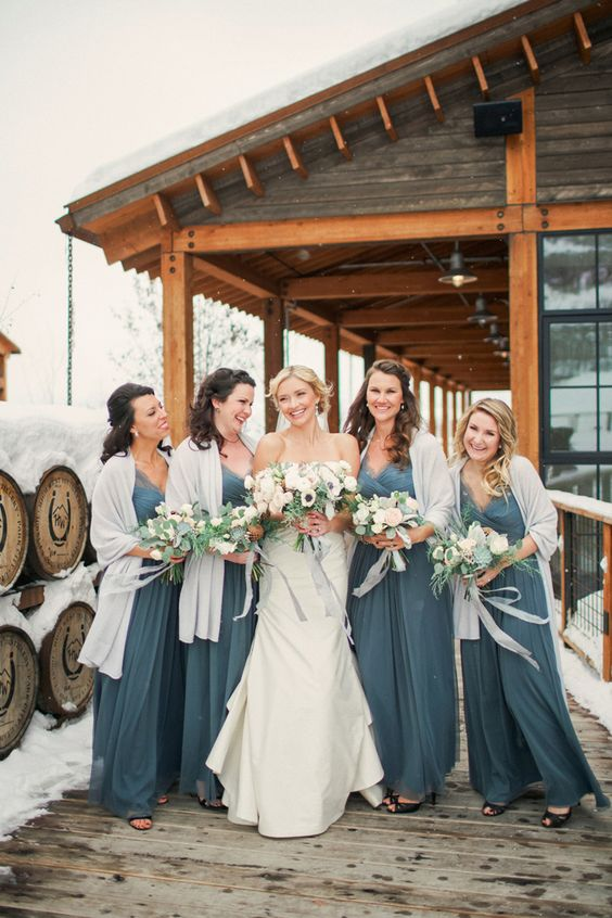 slate grey bridesmaids' dresses with neutral cover ups for a contrasting and bold winter look