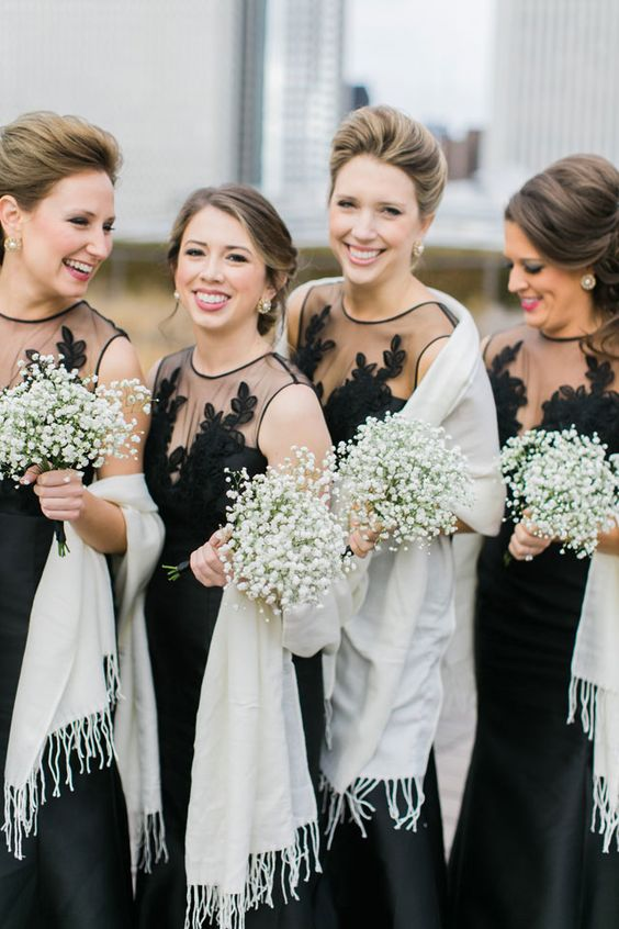 black illusion neckline lace bridesmaid dresses with ivory pashminas for an elegant and timeless look