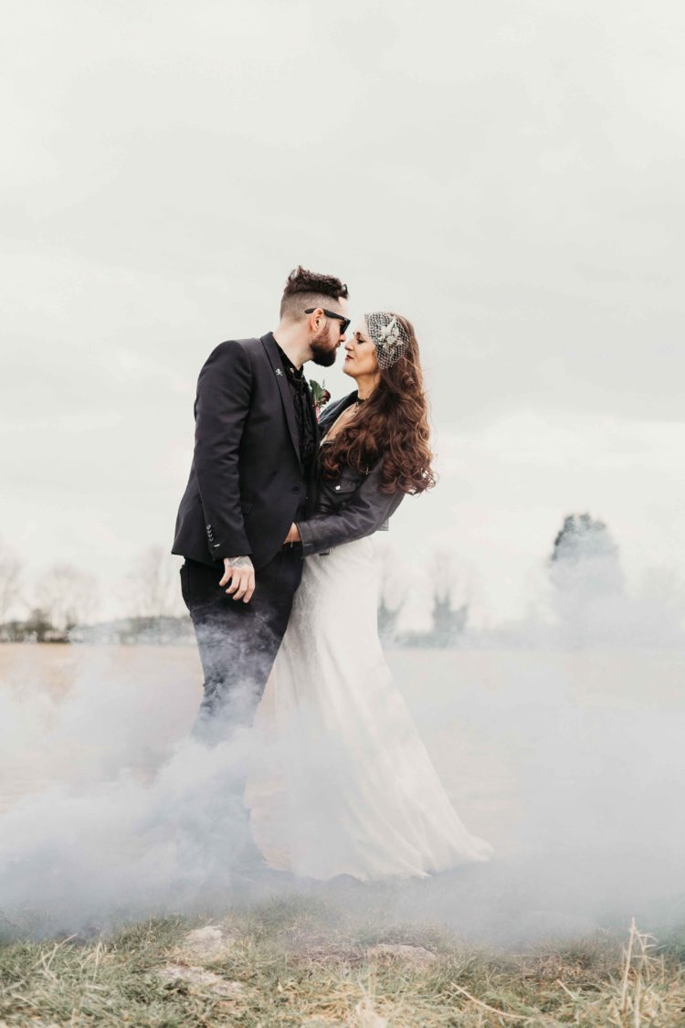 This cool wedding was inspired by heavy metal, whihc is loved both by the bride and groom