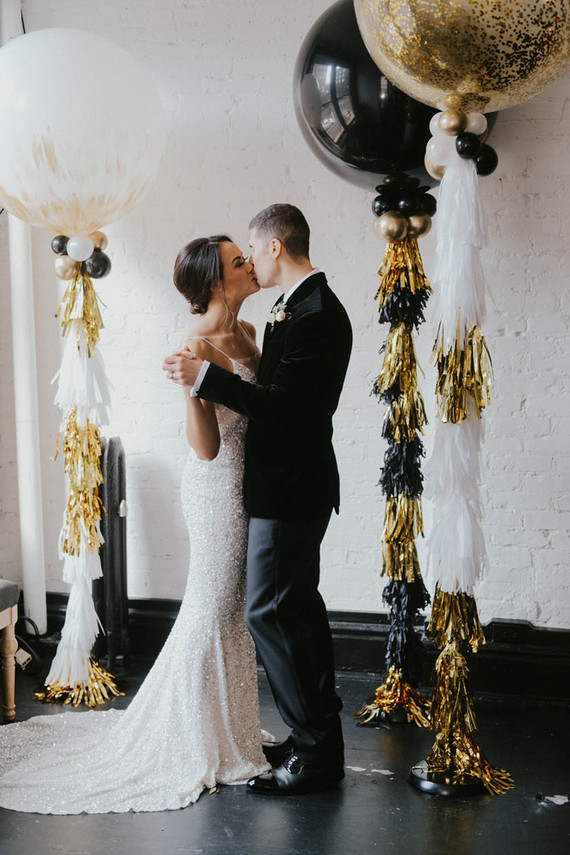 Elegant NYE Elopement In Black, White And Gold