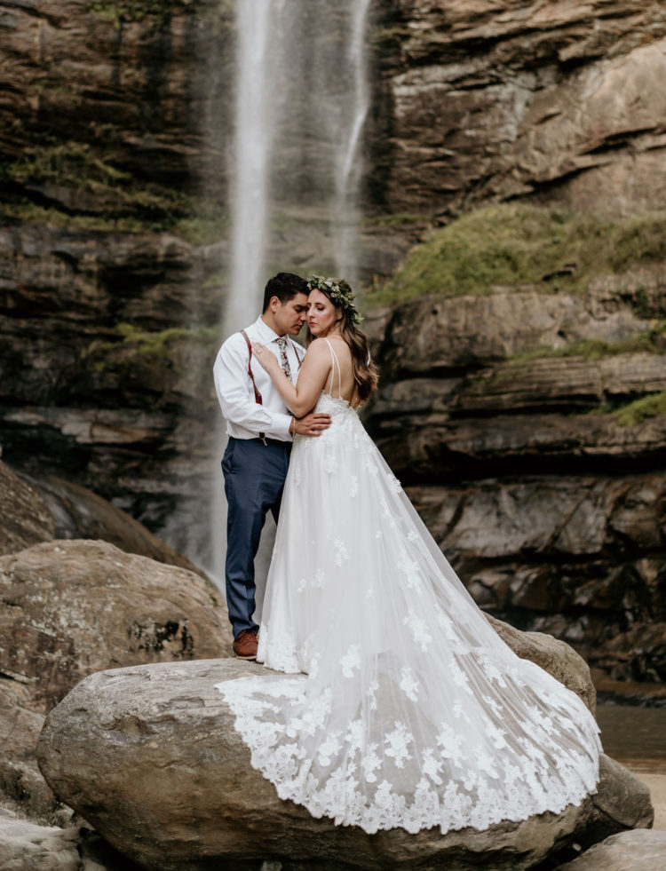 This wedding took place at a waterfall in North Georgia, the couple were enchanted by it