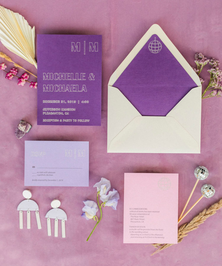 The wedding invitation suite was done in purple, lilac and neutrals