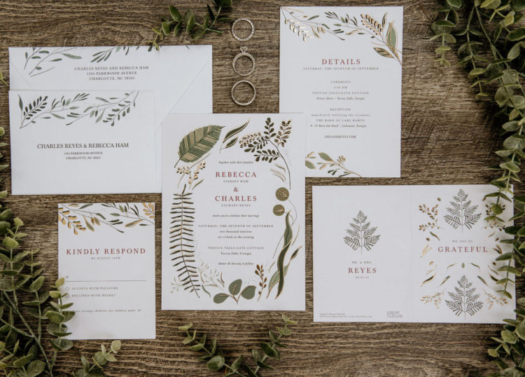 The wedding invitation suite was done with botanical prints
