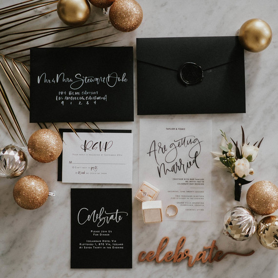 The wedding stationary was done in black and white, with some gold touches and calligraphy