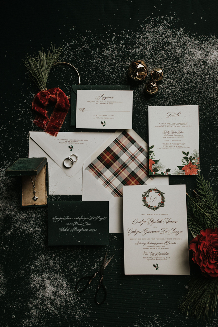 The wedding stationary was done in traditiona greens and red plus white and some plaid patterns