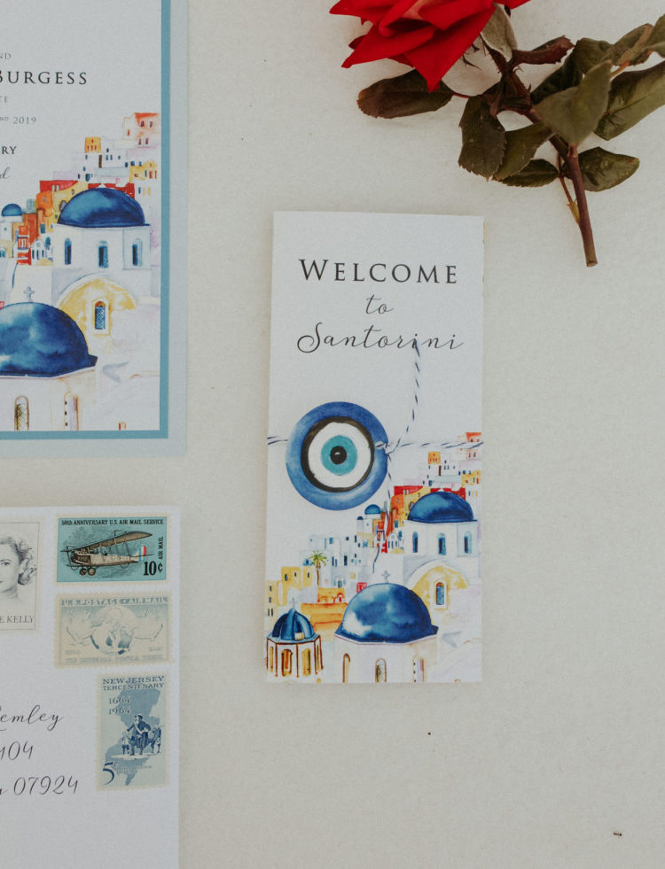 The wedding stationery was strongly inspired by Santorini, done in bright colors and with watercolors