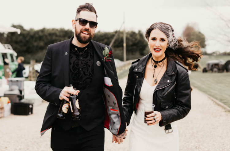 a leather jacket is a must for a rock'n'roll bride