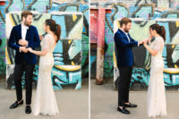 03 The groom was rocking a navy velvet blazer, black pants and a white bow tie