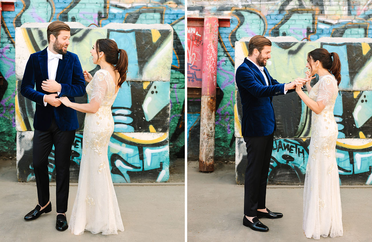 The groom was rocking a navy velvet blazer, black pants and a white bow tie