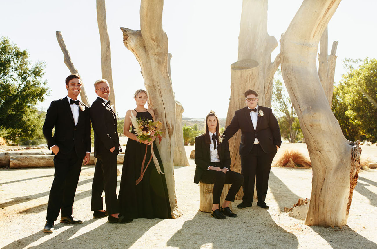All the bridesmaids were wearing black, and so were bridesmen