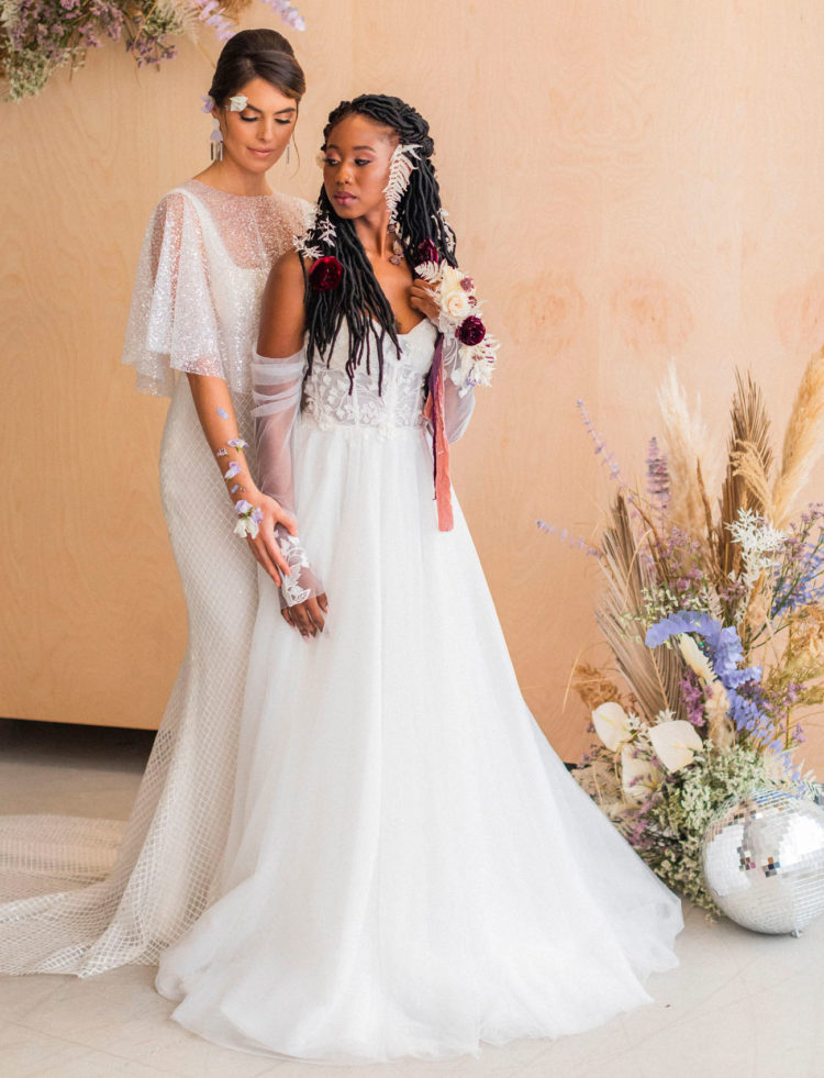 The brides were rocking gorgeous gowns - a sparkling one and an A-line one with intricate lace