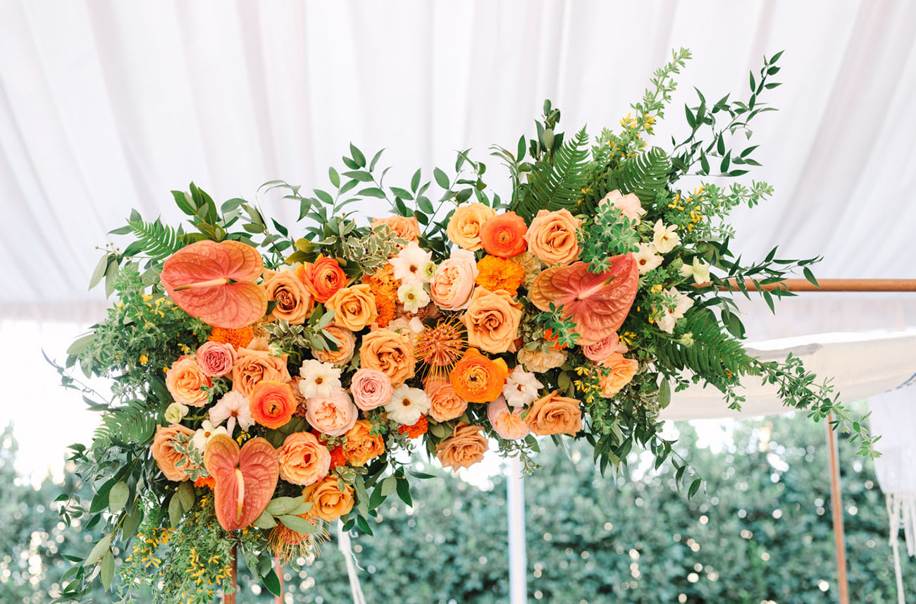 The florals were super lush, bright and of warm tones, which was the bride's request