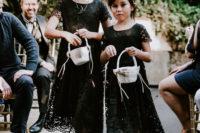 04 The flower girls were wearing black lace dresses