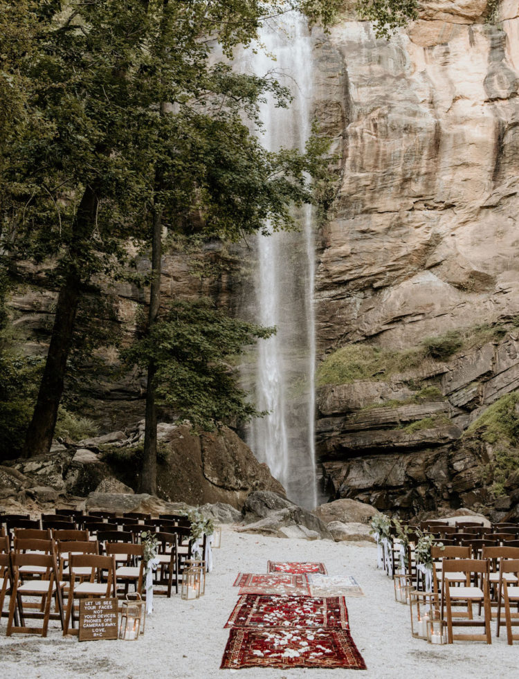 The wedding ceremony space was great - there was a waterfall, vintage rugs and some candles