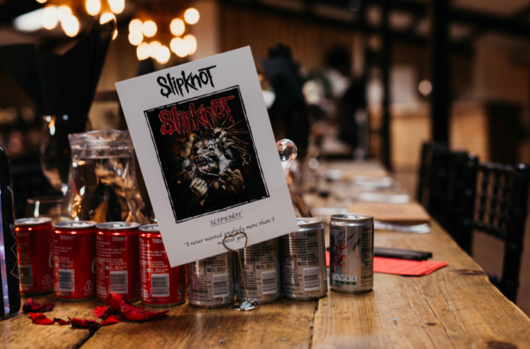 Slipknot was the cause of their first meeting, and it was incorporated into the wedding