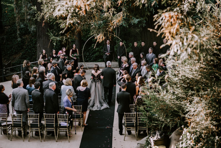 The ceremony took place outdoors, and the acrh wasn't decorated at all to focus at the couple