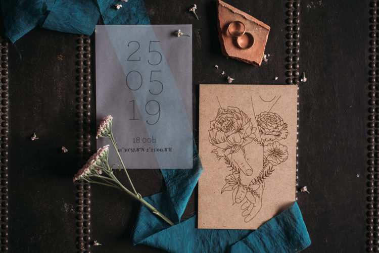 The wedding invitation suit was simple and very intimate, it looked more like personal notes