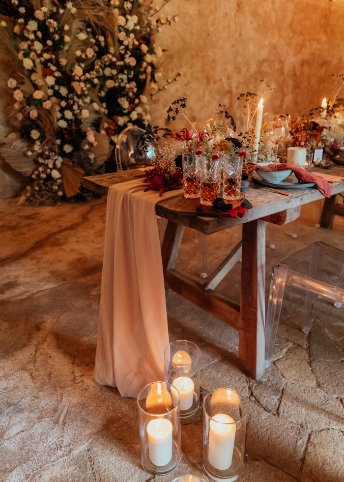 There were candles everywhere, and soft textures were paired with bold colors