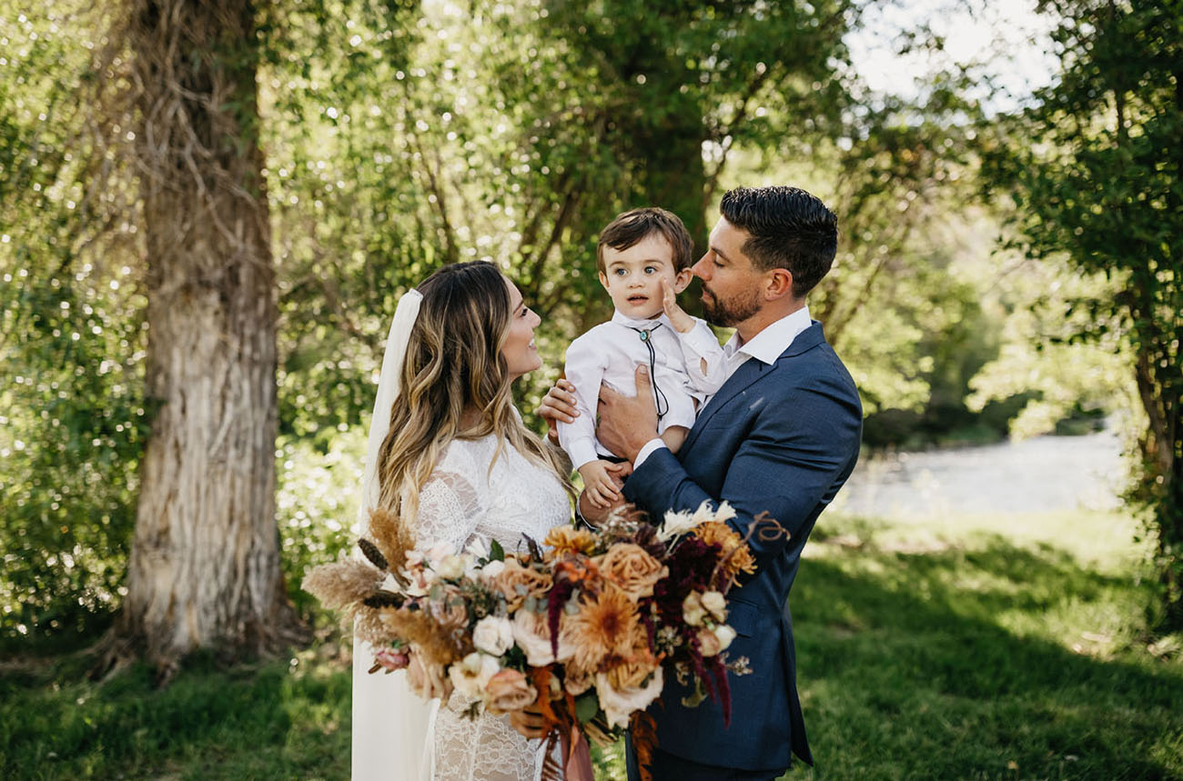 The couple's son participated in the wedding as the best man
