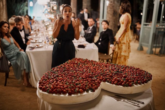 The wedding cake was a giant heart completely covered with strawberries and that was awesome