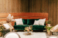 09 The wedding lounge was done with pampas grass, wicker furniture and gold touches