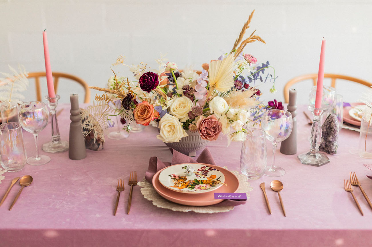 The wedding tablescape was done in pink, peach pink, neutrals