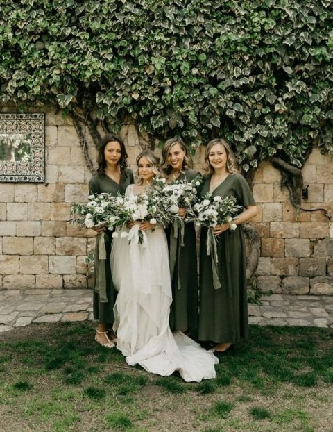olive green midi wrap dresses with V-necklines for a green and white wedding