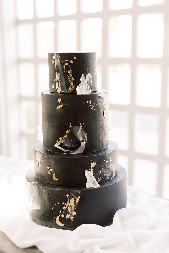 celestial black wedding cake
