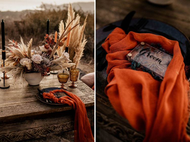 The wedding tablescape was done with black candles, neutral blooms, pampas grass, bright napkins and bold glasses