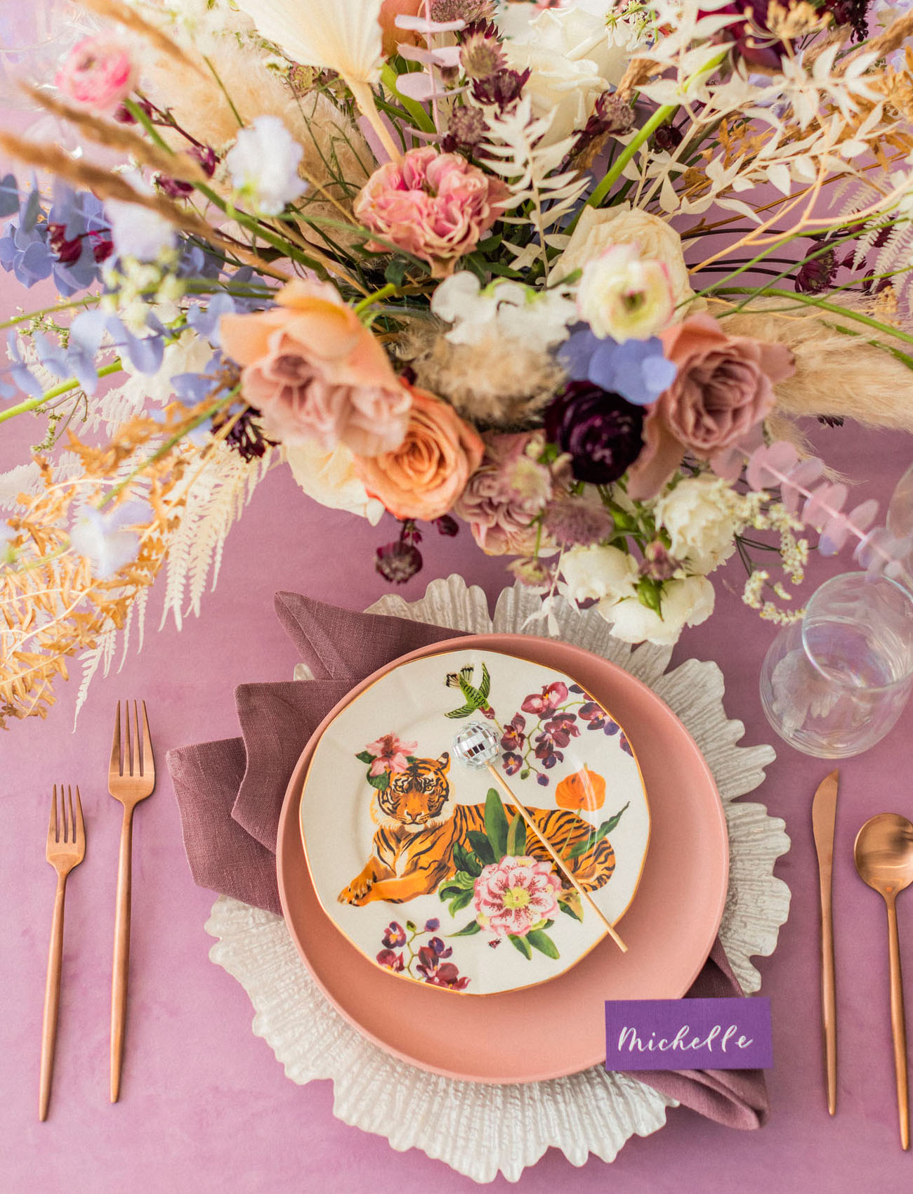 Those textures and a printed plate plus linens really created  a mood at the table