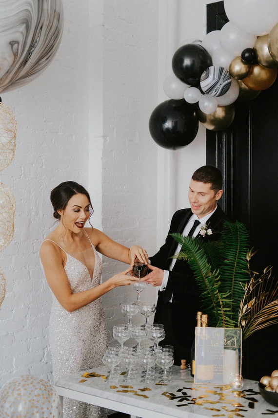 What a NYE wedding without a champagne tower