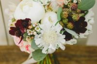 10 a chic and cool summer wedding bouquet with white and burgundy blooms and berries