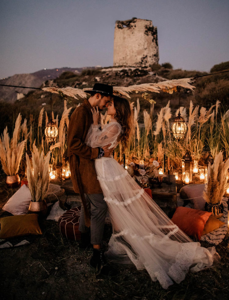 The wedding reception was very beautiful at night, when all the lanterns were on and mill was seen behind