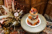 11 There was a delicious fall wedding cake with dripping and fresh fruits