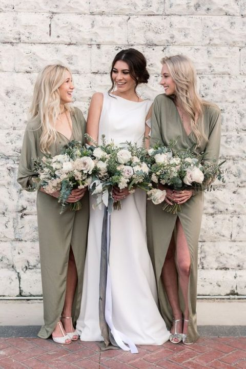 olive green chiffon wrap maxi bridesmaid dresses with long sleeves, T-strap shoes for a chic look