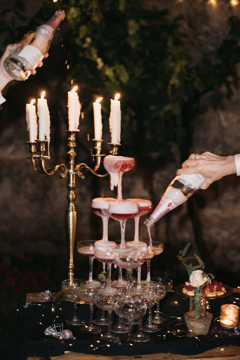 a lovely champagne tower