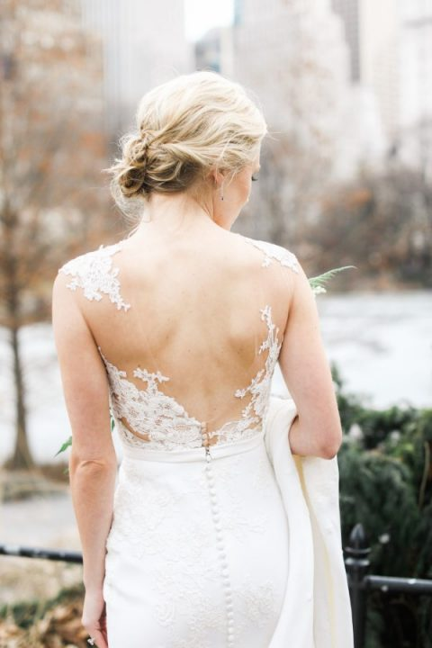 an elegant lace illusion back with a cutout will make your sheath dress even more wow