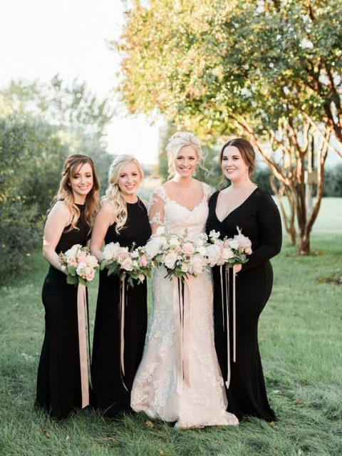 black halter neckline sheath dresses and a sheath V-neckline one with sleeves for the maid of honor